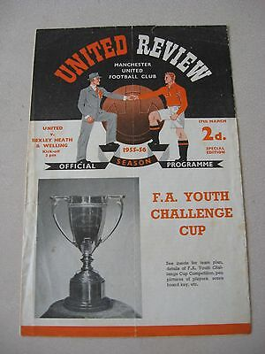 1955-56 Manchester United v Bexley Heath & Welling FA Youth cup 17.3.1956