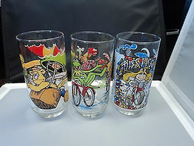 1981 The Great Muppet Caper McDonalds Glass Set OF 3 Kermit Miss Piggy Gonzo