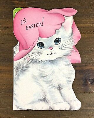 Vintage Flocked Flocked Kitten Tulip Hat Norcross Easter Die-Cut Greeting Card