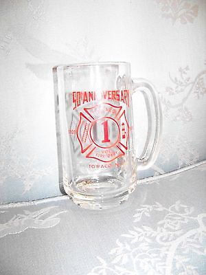 1970 TOWACO New Jersey 50th ANNIVERSARY Fire Department Glass Stein