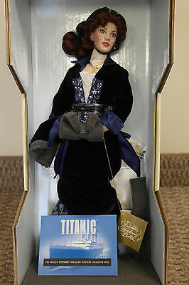 Franklin Mint Titanic Rose Porcelain Portrait Doll Blue Velvet Gown 17""