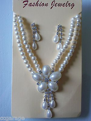 New Wedding ,bridal ,cream,ivory Double Strand  Pearl,clear  Necklace Earring