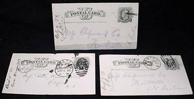 3 Liberty Printed Stamp 1883 Cancel Postcard Written Message Wolfville NS