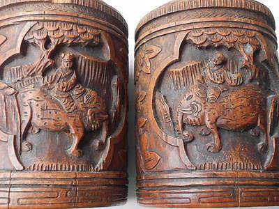 Lovely Pair Of Antique Vintage Carved Chinese Cantonese Brush Pots Containers