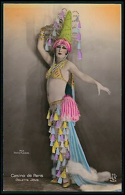 French nude Casino Paris Colette cabaret showgirl 1920s tinted color photo pc