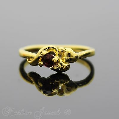 Pretty Petite Yellow Gold Plated Deep Pink Womens Rare Setting Ring Size 6.5