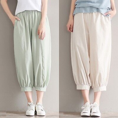 Womens Linen Plain Cropped Pants Ladies Elasticated Waist Tapered Baggy Trousers