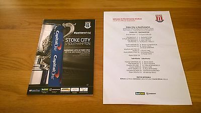 2014-15 Stoke City v Southampton - League Cup + Teamsheet