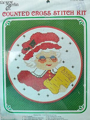 """Vintage Cross X Stitch Kit Mrs. Claus Hoop Frame 7"""" NOS Dead Stock Holiday Decor"""