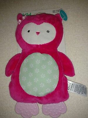 Carters Child of mine pink owl cuddle pal security crinkle teether toy