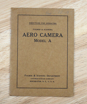 KODAK AERO CAMERA MODEL A INSTRUCTION BOOK/cks/196233