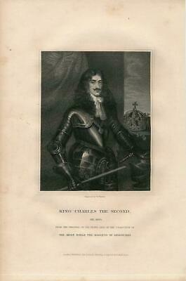 King Charles the Second scarce 1831 antique English U.K. Portrait print