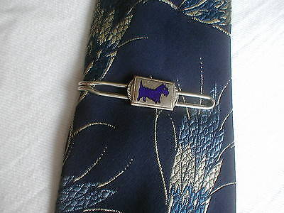 Vintage Art Deco Silver & Blue Enamel Scottie Dog Tie Clip Clasp Bar Retainer