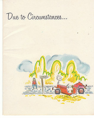 Vintage Greeting Card Broken Down Jalopy Boy Unused with Envelope