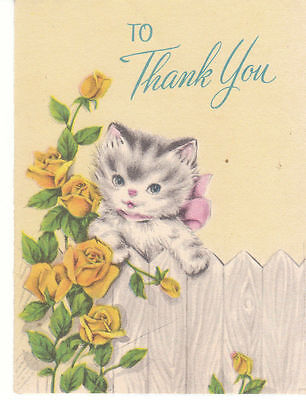 Vintage Thank You Greeting Card Kitten Unused Forget Me Not