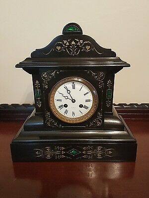 French Slate & Malachite Clock Striker with Gold Inlay in Stunning Condition