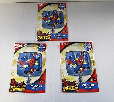 Pack of 3 Spiderman Action Scene Foil Helium Balloon - Marvel party balloons