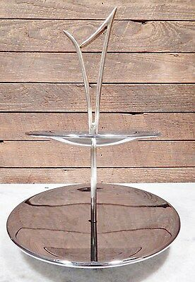 Chrome Candy Nut Dish 2 Tier Danish Modern top gold tone dishes
