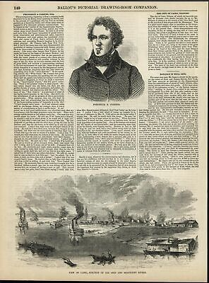 Cairo Junction Ohio & Mississippi Rivers Strategic 1856 antique engraved print
