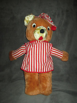 Vintage Stuffed Teddy Bear Red White Striped Pajamas #2 18""