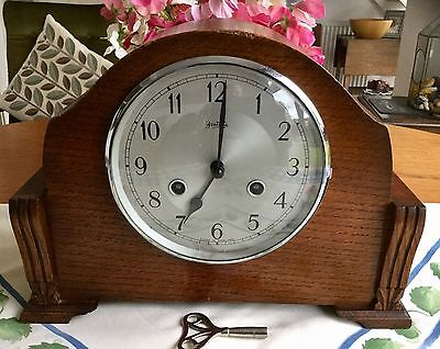 Vintage Bentima 'perivale' Striking Clock -  Working Order With Key