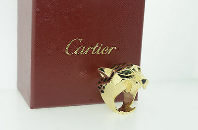 Cartier Panthere 18k Yellow Gold Onyx Black Lacquer & Peridots Ring Size 62