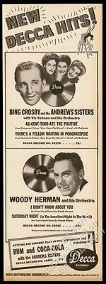 1945 The Andrews Sisters Bing Crosby photo Accentuate the Positive trade ad