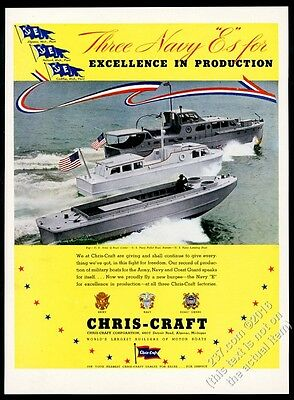 1942 Chris-Craft US Army Q Boat Navy Picket boat & landing boat photo print ad