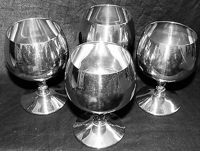 Rogers & Valero Set 4 Brandy Goblets Silver Plate Made in Spain