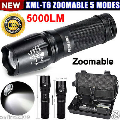 Zoomable 5000LM Cree XML T6 LED 5 Mode Flashlight Torch Charger Box ShadowHawk q