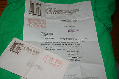 Vintage The Commodore Hotel New York City Letter Envelope Stationary Mailed 1946