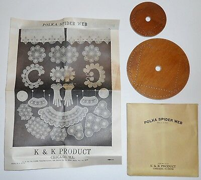 NIP Vtg Lace Making POLKA DOT SPIDER WEB K&K PROD Instructions +Wood Wheel Tools