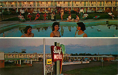 Route 66 Roadside Postcard 2 Views of Surf Motel, Santa Rosa, Mexico