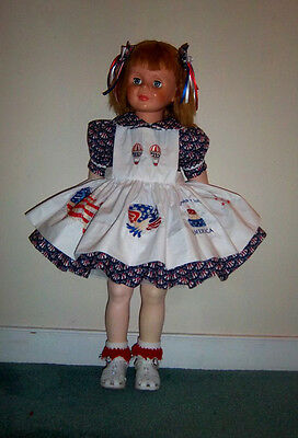 "Pretty Patriotric Dress- Pinafore Set Ideal For Patti PlayPal Doll ""By Berta'"
