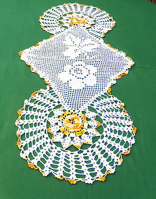 Crochet Lace Table Runner Dresser Scarf Roses 20x45 Oval