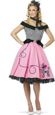 Womens 50's Style Cute Poodle Skirt Grease Halloween Outfit Dance Dress Costume