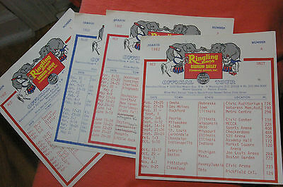 1982 Ringling Bros. Barnum & Bailey Combined Shows Inc. Official Tour Schedule