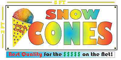 FULL COLOR SNOW CONES All Weather Banner Sign XL Size snocone Shaved Ice Sno