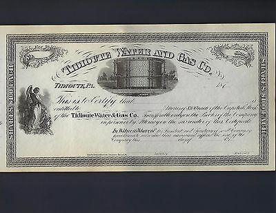 Tidioute Water & Gas Company Stock certificate 187X