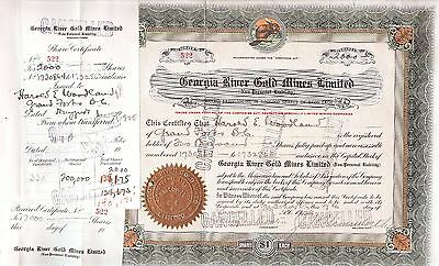 Georgia River Gold Mines Limited stock certificate #522 1928