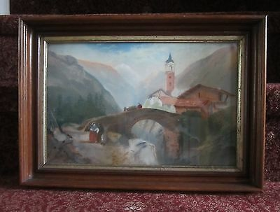 Italian pre-WWII early 20th century mountains, bridge, church pastel painting
