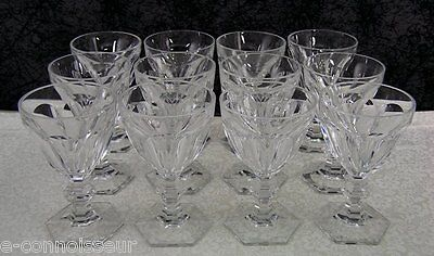 (12) Harcourt Pattern Baccarat French Crystal Claret Red Wine Glasses