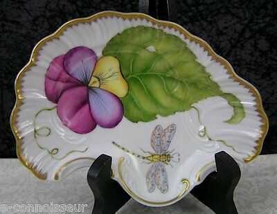 Anna Weatherley Designs Pansy Pattern Hand-painted Porcelain Fan Dish