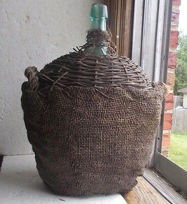 Pontiled 2 Gallon Aqua Kidney Shape Demijohn W/wicker & Gunny Sack Cover 1860
