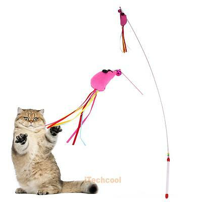 Funny Kitten Cat Play Teaser Mouse Wire Chaser Wand Stick Interactive Fun Toy