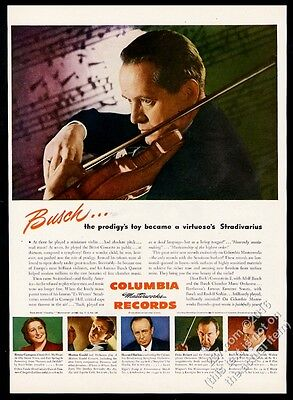 1944 Adolf Busch photo with violin Columbia Records vintage print ad