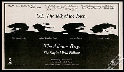 1981 U2 photo I Will Follow song release vintage print ad