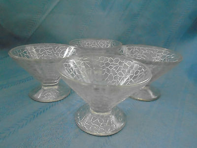 L E Smith McKee Glass  by Cracky Clear Sherbet round rim Depression Lot Of 4