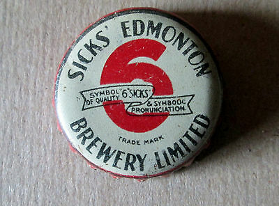 Canada Sicks Edmonton Brewery Limited Beer Bottle Cap Cork Lined