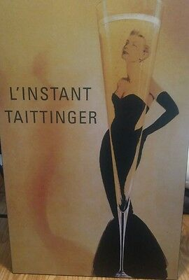 l'instant taittinger plaque 24x36 champagne advertisement awesome  decor wood